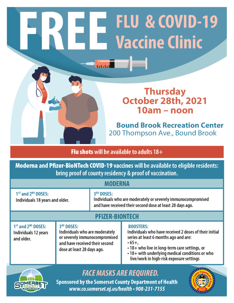 FREE Flu & COVID-19 Vaccine Clinic @ Bound Brook Borough Hall